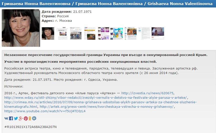 Жизнь вУкраинском государстве: Гришаева угодила вбазу «Миротворца»