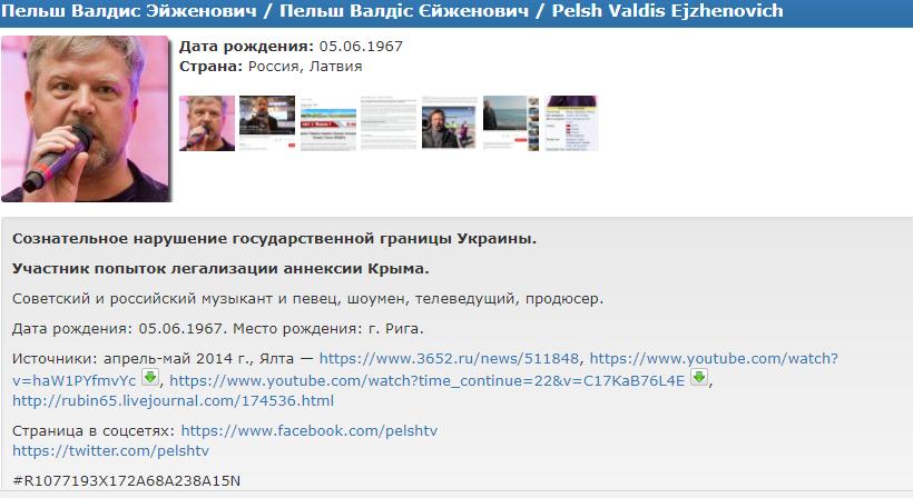 Украина внесла Пельша иКонкина в информационную базу  «Миротворца»