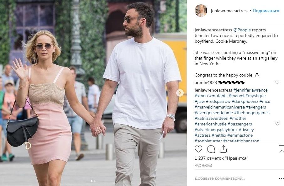 Дженифер Лоуренс объявила опомолвке сгалеристом