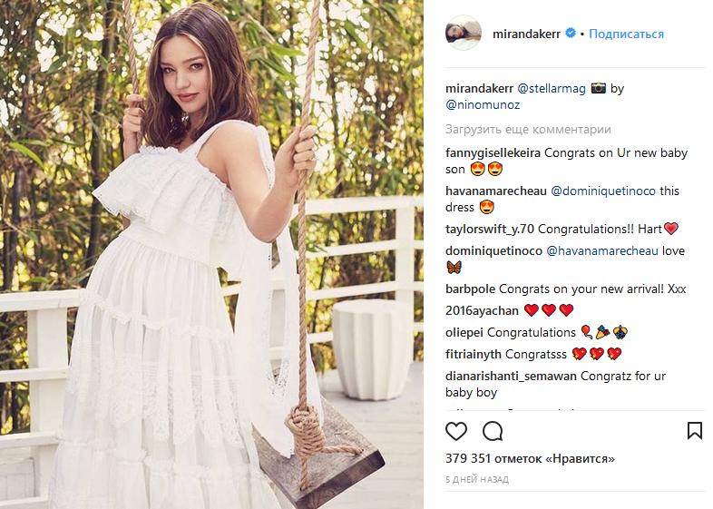Миранда Керр во 2-ой раз стала мамой
