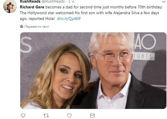 Голливудский артист  Ричард Гир 2-ой  раз стал отцом в69 лет