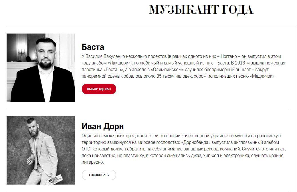 Рэпера Басту журналGQ номинировал напремию «Человек года»